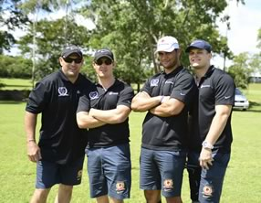 Broncos legends Alfie Langer, Michael Hancock, Michael DeVere with Paul Dyer and Simon Scanlan from Broncos Game Development